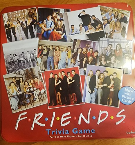 Friends Trivia Game with Picture Cards; in a Collectible Red Tin by