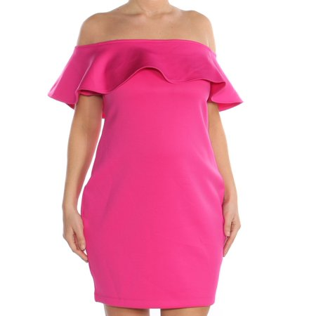 GUESS Womens Pink Ruffled Off Shoulder Above The Knee Body Con Formal Dress  Size: L