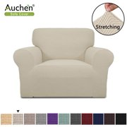 "Auchen Purefit Super Stretch Chair Sofa Slipcover, Off-white Chair Slipcover Furniture Cover/Protector Fit Chair Sofa Width 31"" to 46"", Non Slip Soft with Small Checks ( Chair, Off-white )"