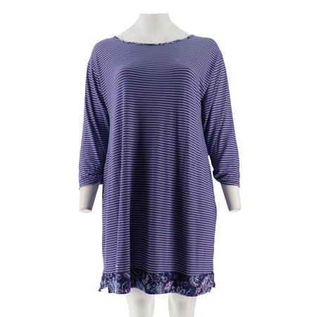 Carole Hochman Batik Stripe Sleepshirt Set A294073