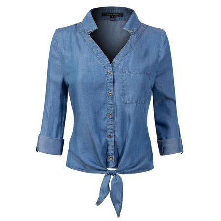 Made by Olivia Women's 3/4 Roll Up Sleeve Button Down Front Tie Knot Chambray Denim Shirt Medium Denim M
