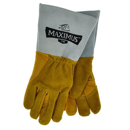 730 Maximus Premium Grain Split Cowhide Stick Welding Gloves  Large  Strong Rigid Cuff Protects Fom Sparks And Will Not Droop By Revco