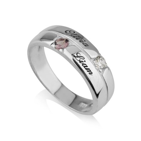Mothers Ring Engraved simulated Birthstone Ring 2 Stones Ring -925 Sterling Silver - Personalized & Custom Made