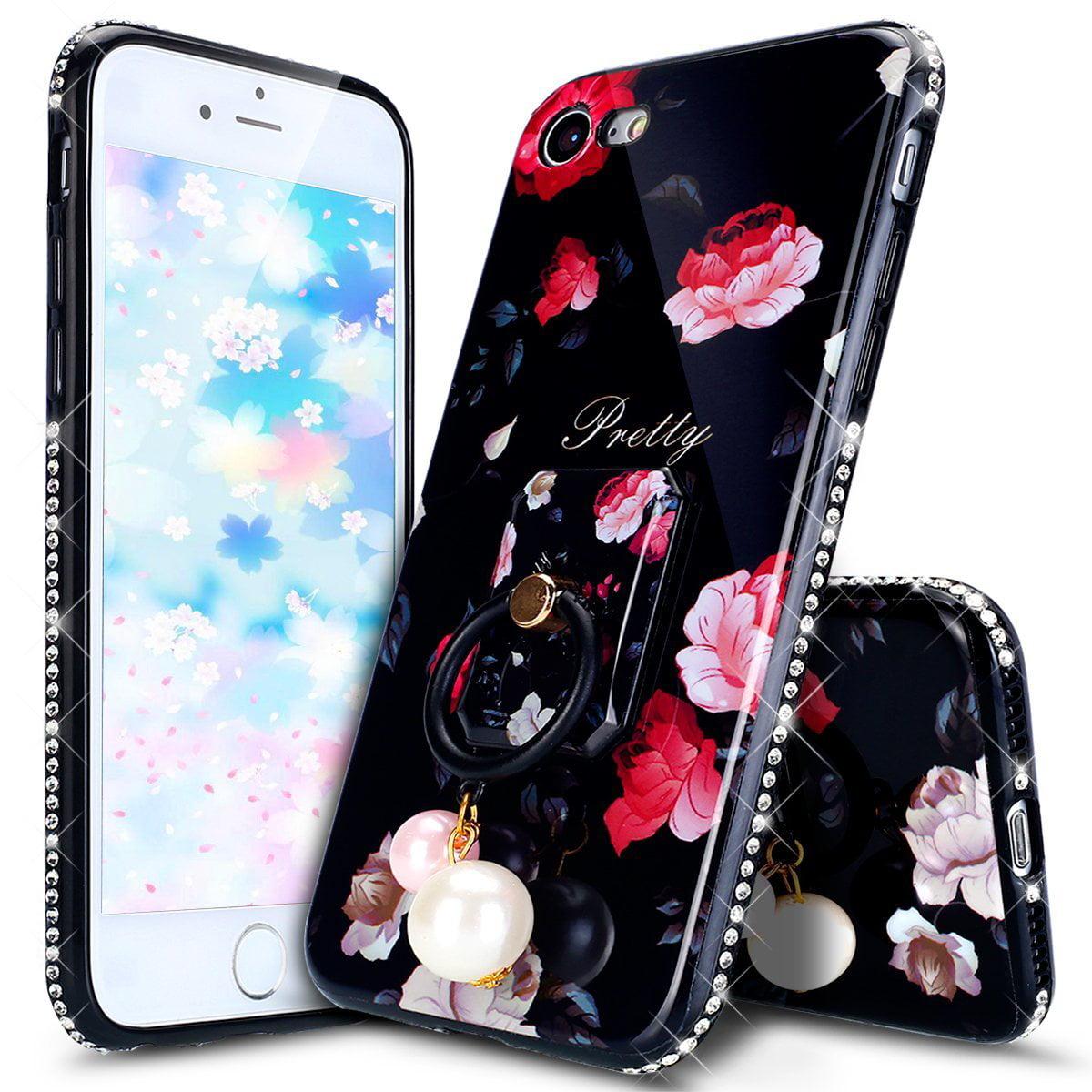 Iphone 8 Case Iphone 7 Case Glitter Tpu Case Black Rose Flower