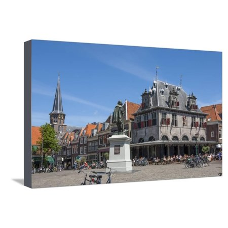 Town Square with Statue of Jan Pieterszoon Coen, Dutch East India Company, Hoorn, Holland, Europe Stretched Canvas Print Wall Art By James (Town East Square)