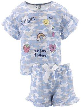 Sleep On It Girls Be Happy Blue Camo Short Pajamas