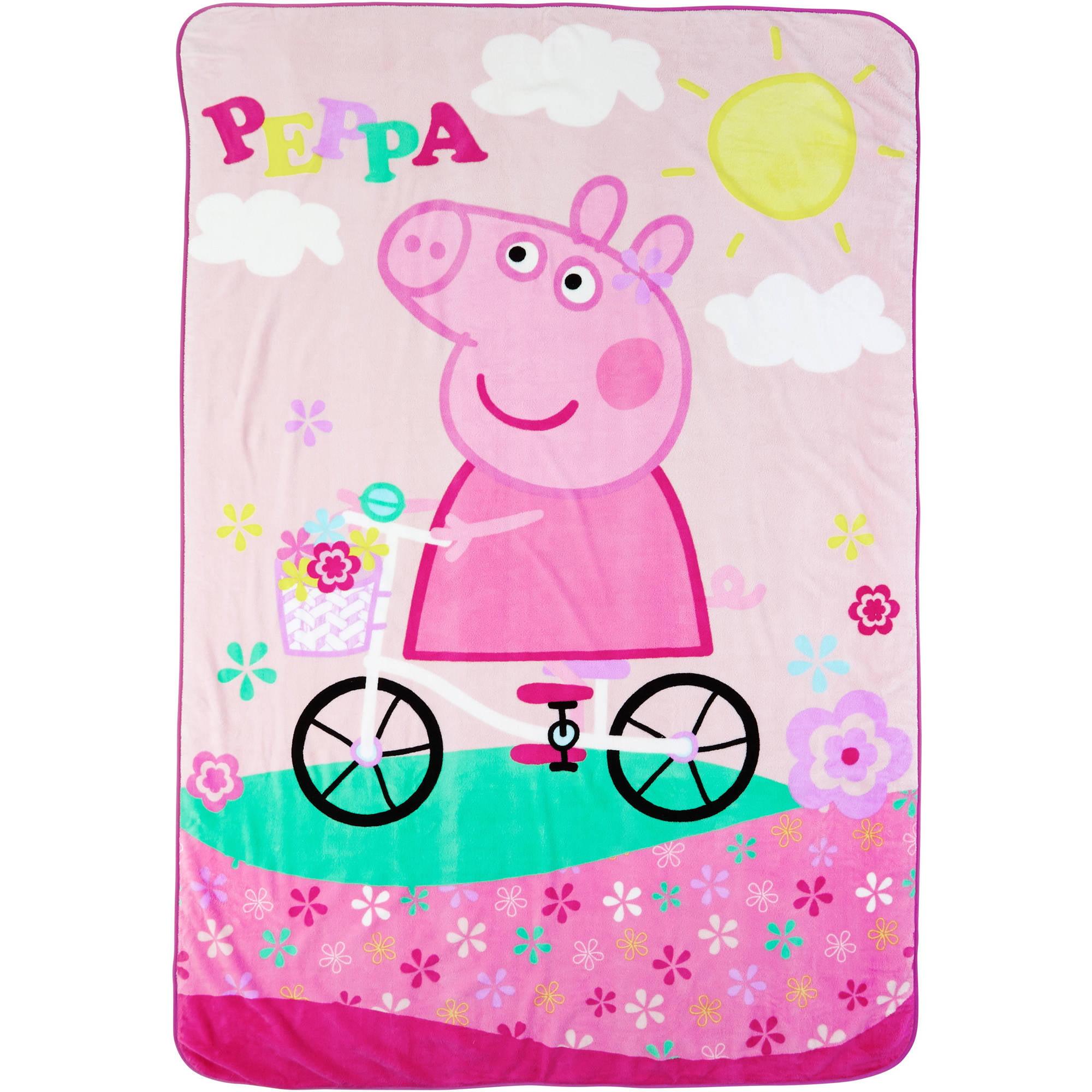 "Peppa Pig Bike Ride With Peppa 62"" x 90"" Kids Plush Blanket by Generic"