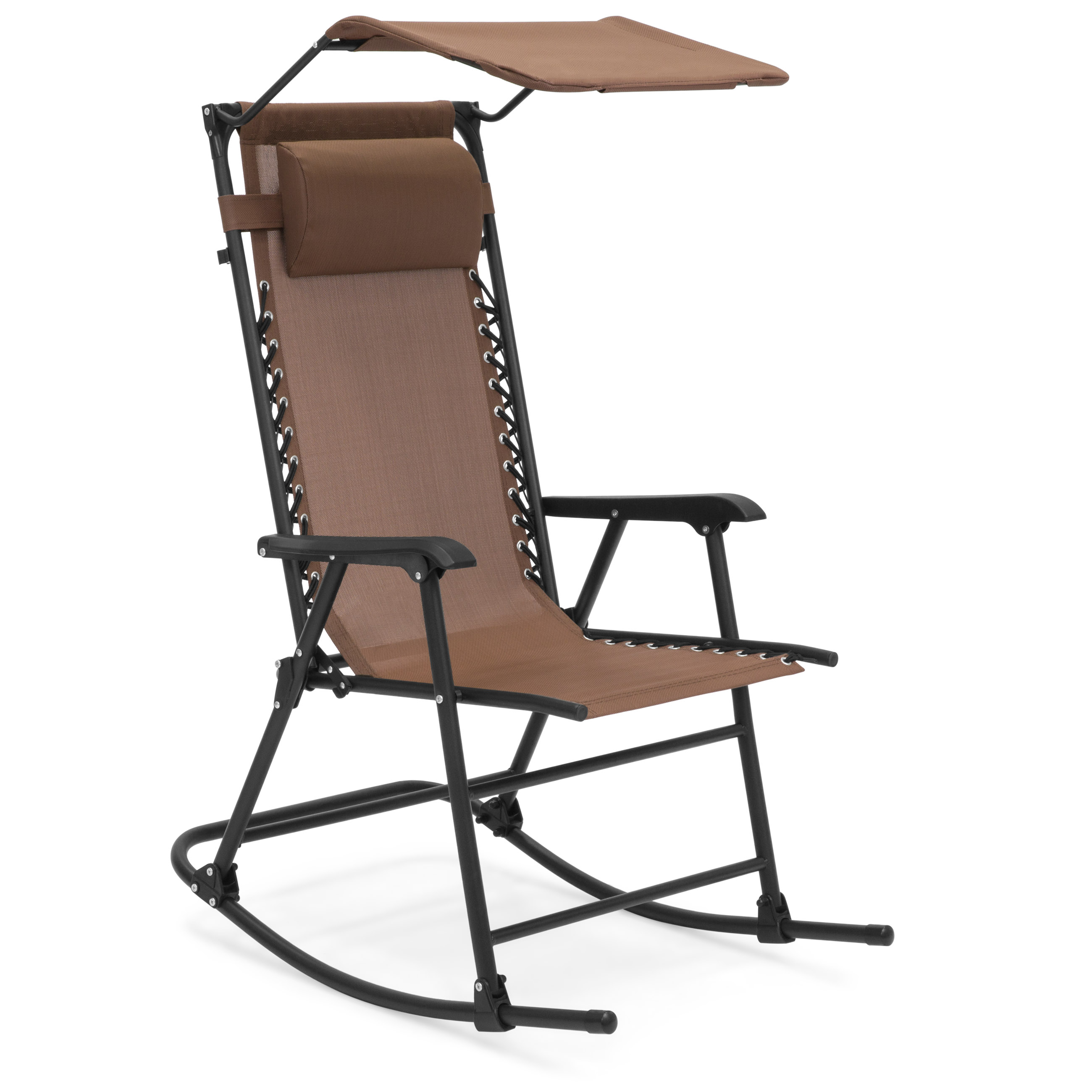 Best Choice Products Foldable Zero Gravity Rocking Patio Chair w/ Sunshade Canopy - Brown