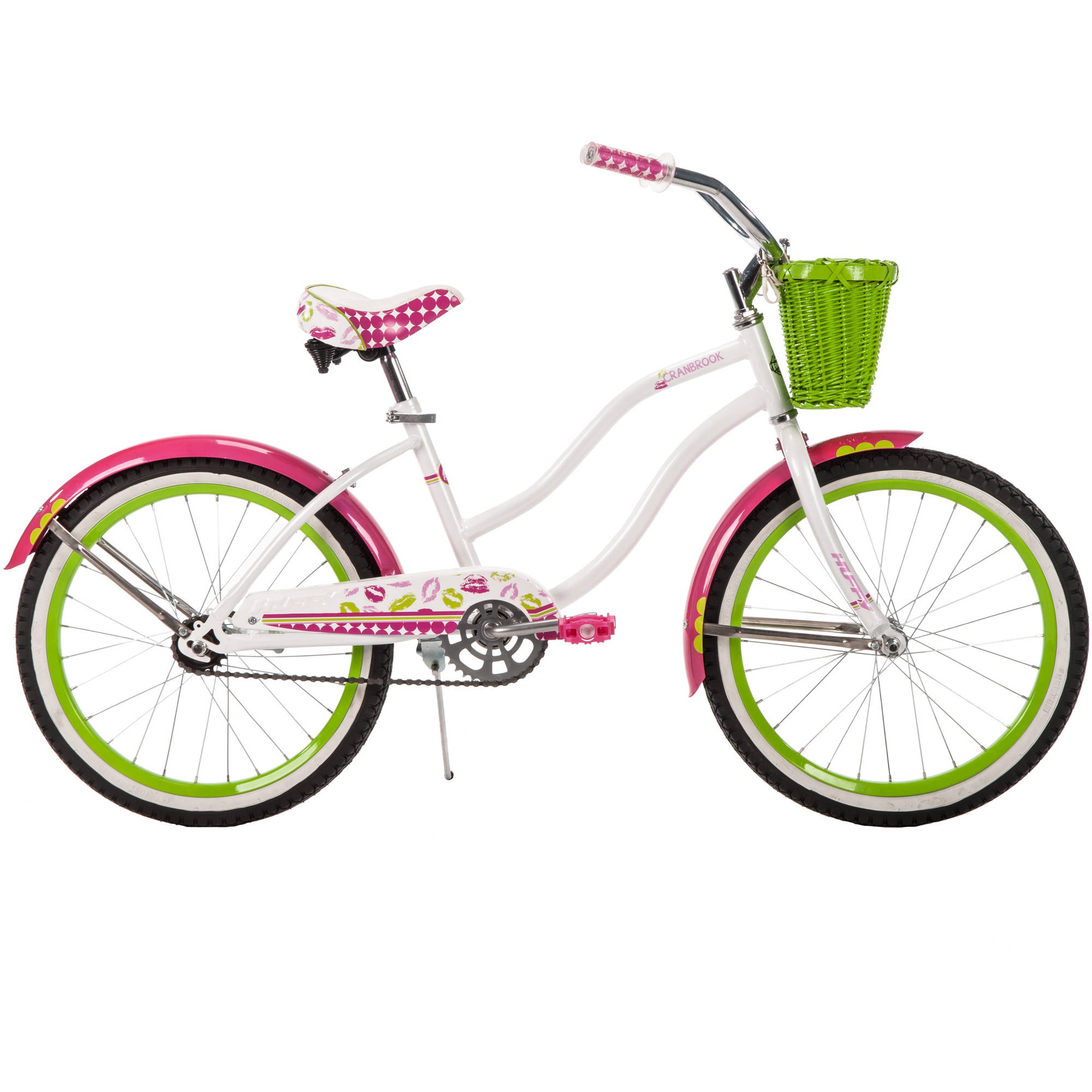 "20"" Huffy Girls' Cranbrook Cruiser Bike, White, Wicker Basket"