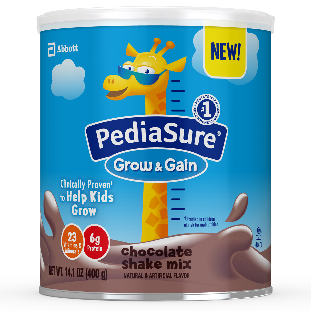 PediaSure Grow & Gain Chocolate Shake Mix, Nutrition Shake for Kids, 14.1 oz (6 count)