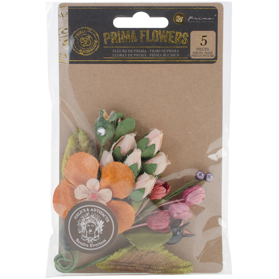 """Relics & Artifacts Fabric Flowers, 3"""" x 4.5"""", 5pk, Spring Prism Floralia Stems"""