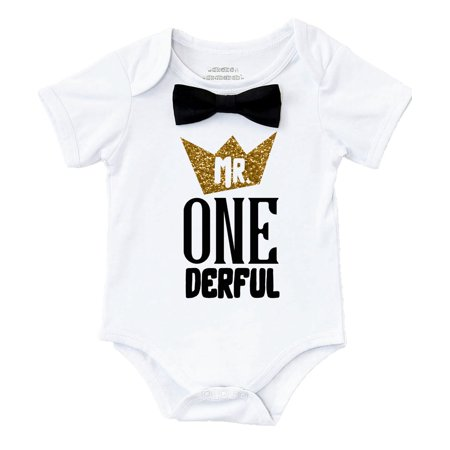 Mr Onederful First Birthday Shirt Outfit Boy With Black Bow Tie And Gold Saying Cake Smash 1st Party Noahs Boytique 6 12 Months