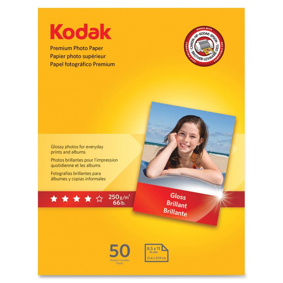 Kodak, KOD8360513, Premium Gloss 8.5 mil Photo Paper, 50 / Pack, White