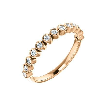 14k Rose Gold 1/4 Ct Diamond Bezel Set Right Hand Ring 1/2 Ct Diamond Pear Bezel