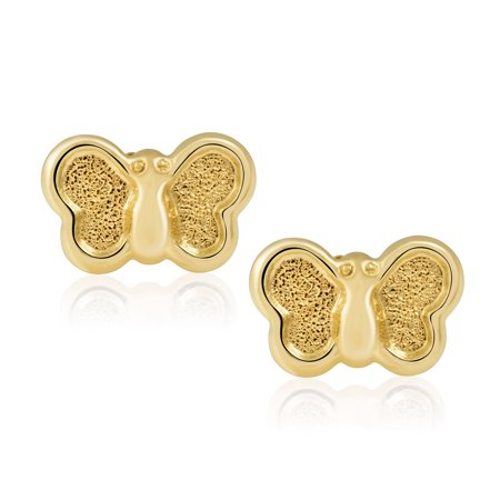 14KT Yellow Gold Children's and Baby Girls' Butterfly Stud Earrings – Charming with Secure Screw Back Safety Closure 14k Yellow Gold Butterfly Earrings