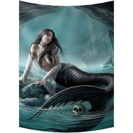 GCKG Skull Green Mermaid Wall Art Tapestries Home Decor Wall Hanging Tapestry Size 60