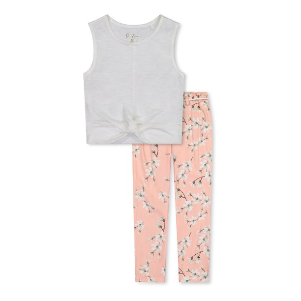 Jessica Simpson Girls Sleeveless Twist Front Top and Paper Bag Pants, 2-Piece Outfit Sets, Sizes 4-16