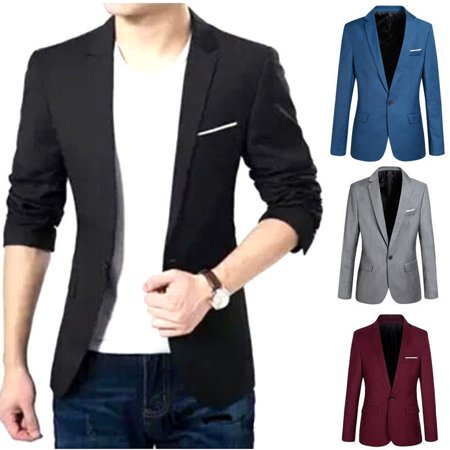 Stock Formal Mens Slim Fit One Button Suit Blazer Business Coat Jacket Tops