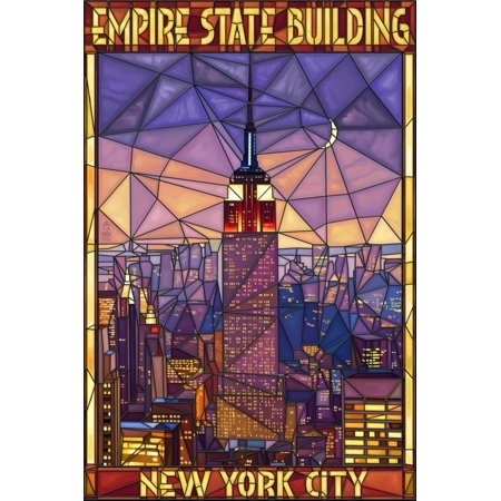 Empire State Building Stained Glass Window - New York City, NY Print Wall Art By Lantern Press (Party City Ny)