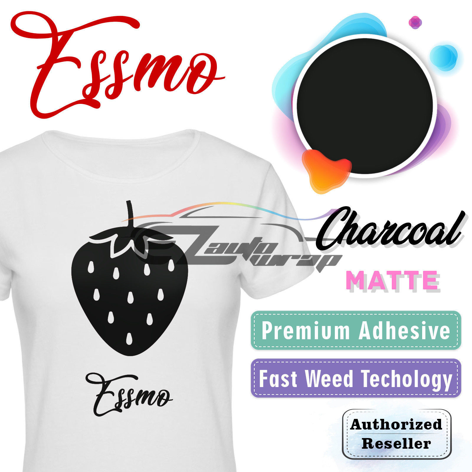 "ESSMO Charcoal Matte Solid Heat Transfer Vinyl HTV Sheet T-Shirt 20"" Wide Iron On Heat Press 20""x24"""