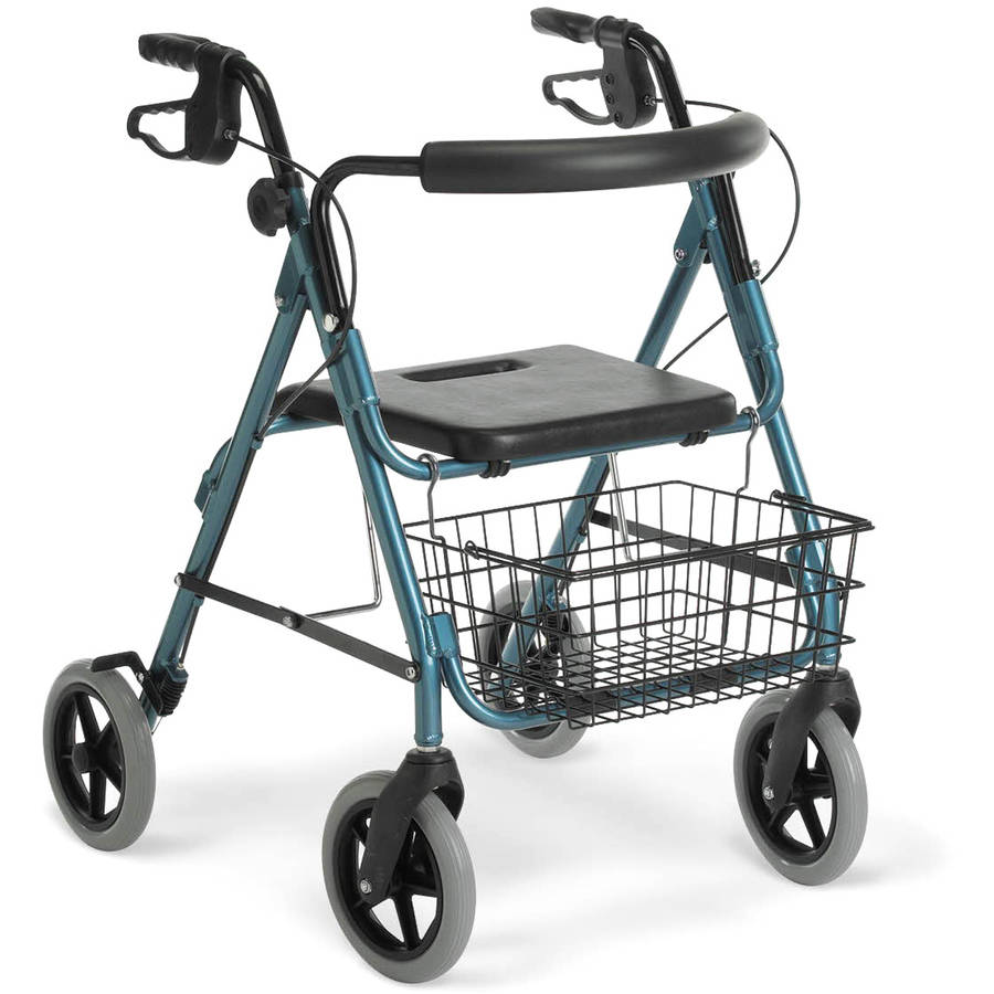 "Medline Deluxe Aluminum Foldable Rollator Walker with 8"" Wheels, Blue"