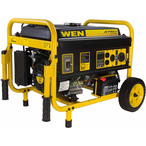 WEN Generator with Electric Start and Wheel Kit, CARB Compliant, 4750W