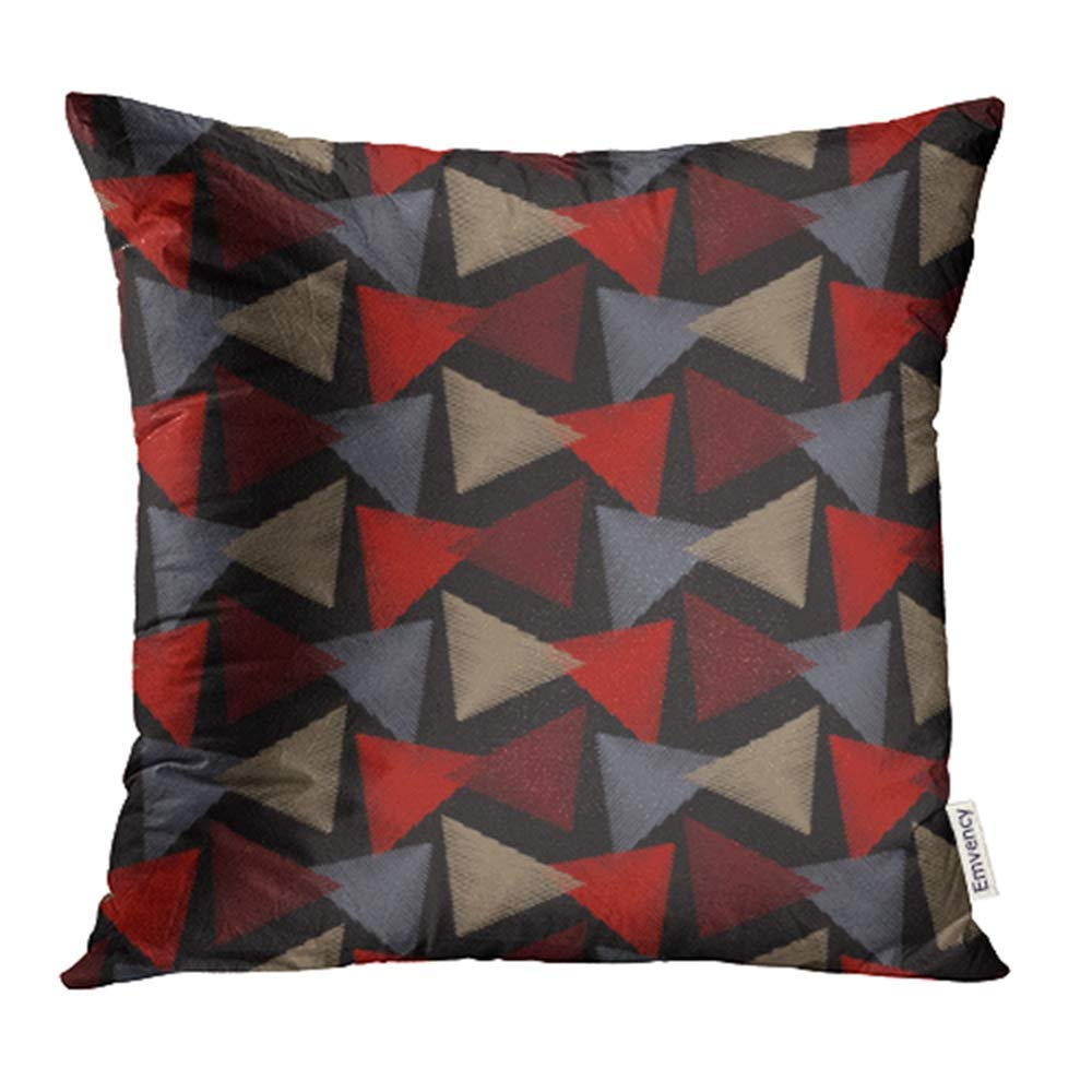 Ywota Red Gray Brown Lrregular Triangle Abstract Pattern