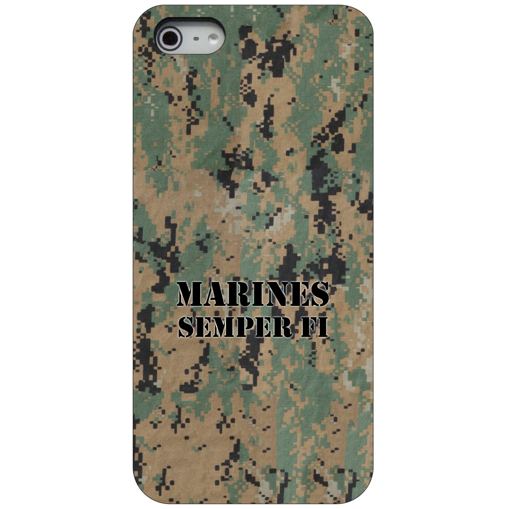 CUSTOM Black Hard Plastic Snap-On Case for Apple iPhone 5 / 5S / SE - Camo Marines Semper Fi
