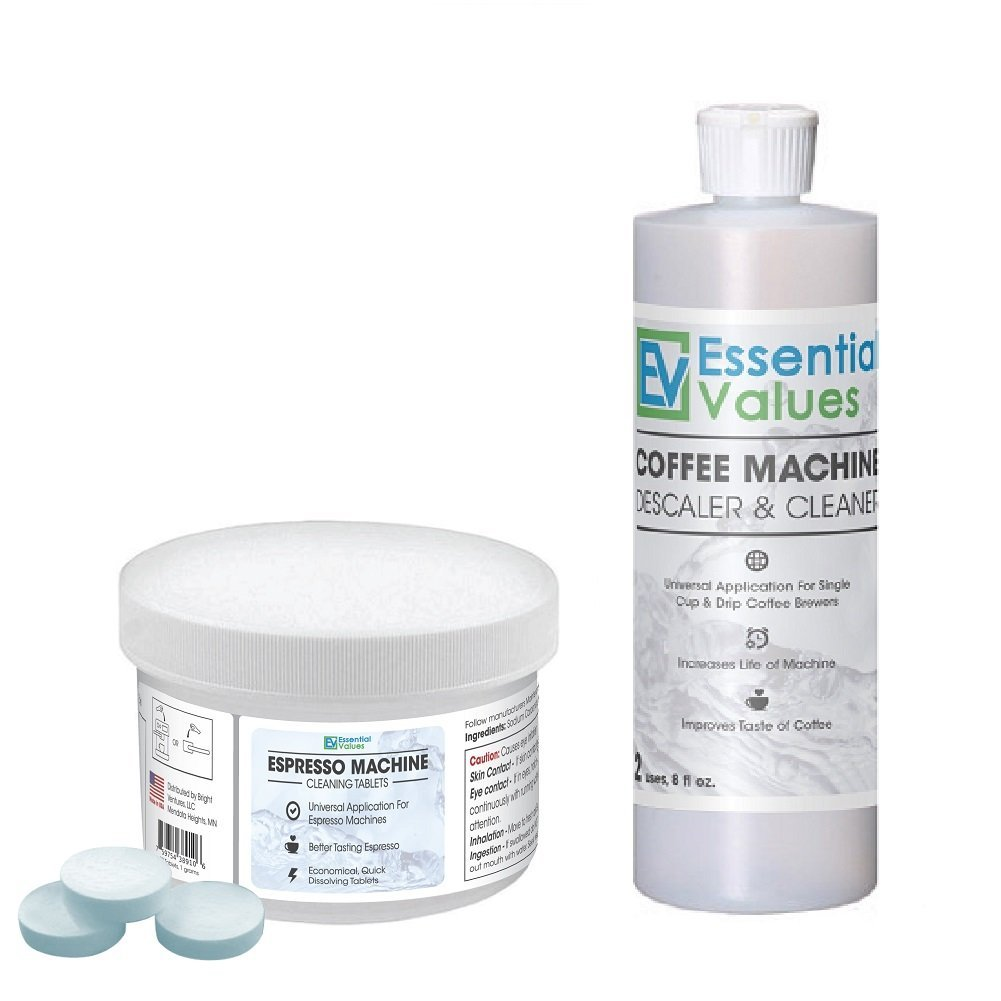 Click here to buy Espresso Machine Cleaning Tablets (30 Count) & BONUS Descaler by Essential Values, Made in USA by Essential Values.
