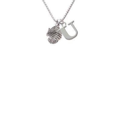 Silvertone Clam Spinner Capital Initial U Necklace