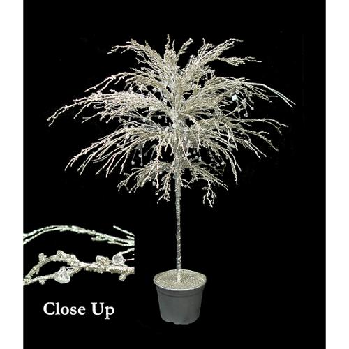 """46"""" Platinum Crystallized Glitter Potted Holiday Tree - Mirrors & Beads"""