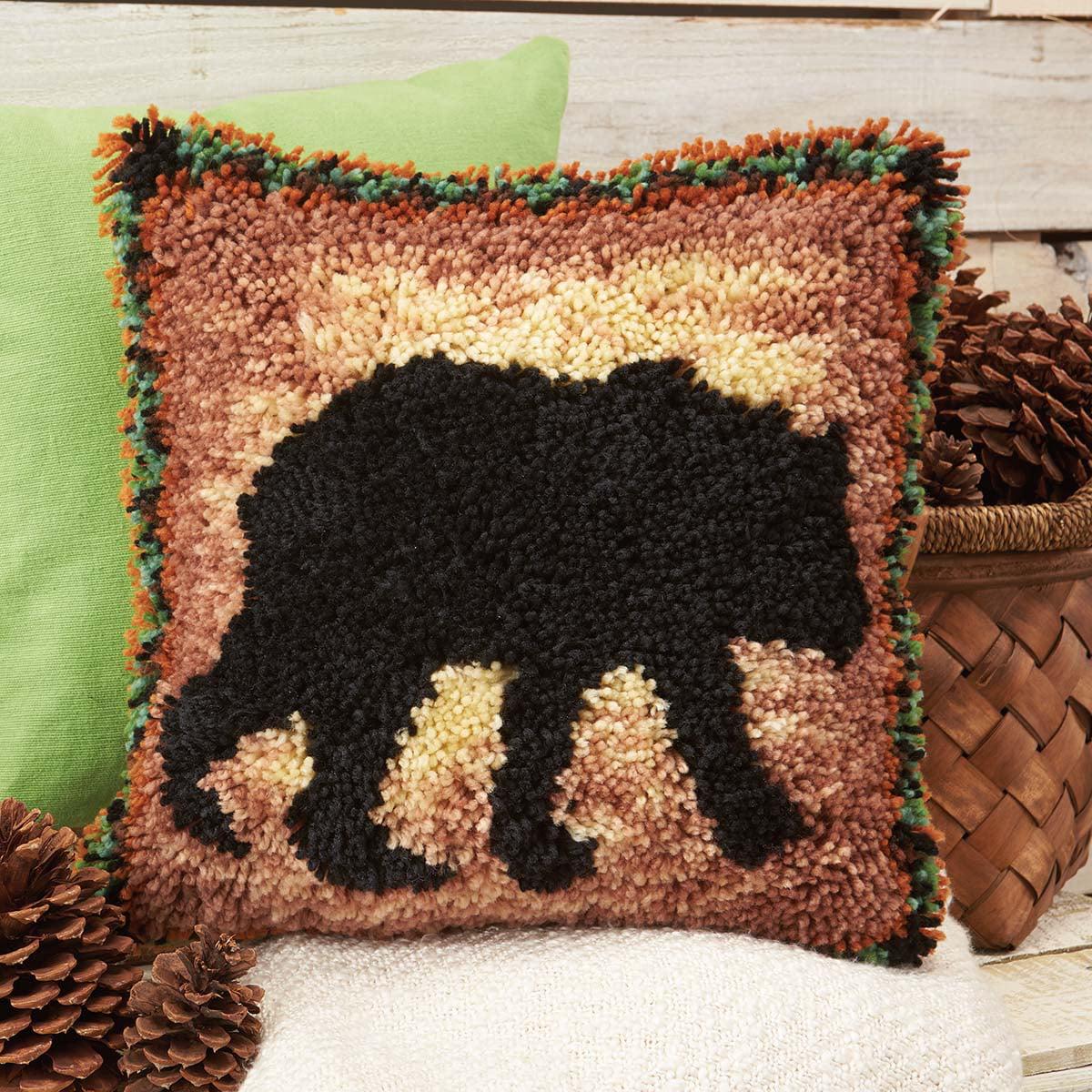 Herrschners® Cabin Fever Bear Pillow Latch Hook Kit