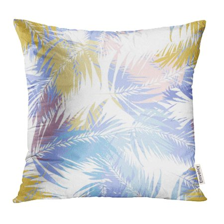 CMFUN Tropical Palm Leaves Coconut Colorful Overlay Effect Exotic Plants and Leaf Coconat Pillow Case Pillow Cover 18x18 inch Throw Pillow (Overlay Leaf)
