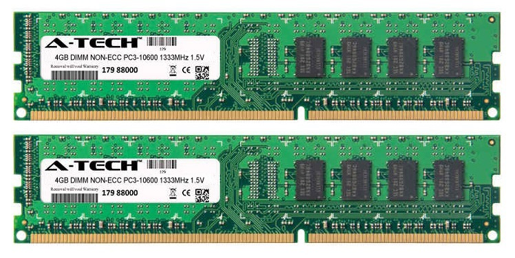 8GB Kit 2x 4GB Modules PC3-10600 1333MHz 1.5V NON-ECC DDR3 DIMM Desktop 240-pin Memory Ram