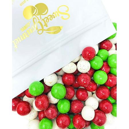 SweetGourmet Christmas Milk Chocolate Malt Balls | Red, White, Green | 3 Pounds ()