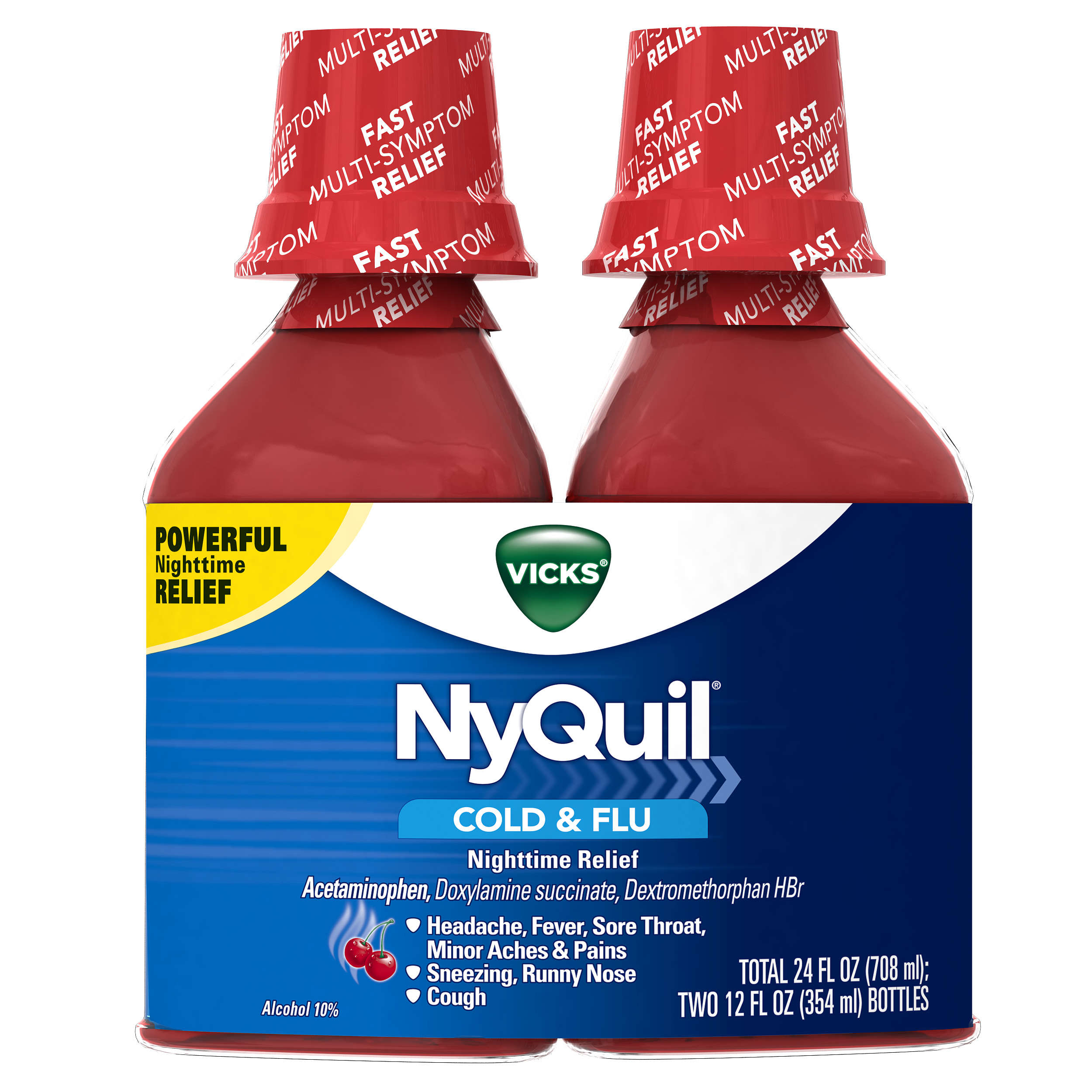 Vicks NyQuil Cold & Flu Nighttime Relief Cherry Flavor Liquid 2 x 12 fl oz