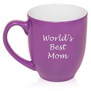 16 oz Purple Large Bistro Mug Ceramic Coffee Tea Glass Cup World's Best Mom