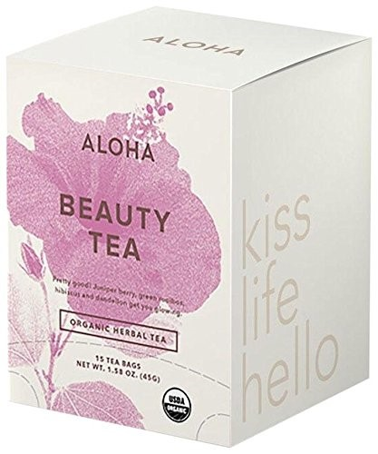 Aloha Beauty Tea, Juniper Berry Green Rooibos Hibiscus & Dandelion, 15 Ct by Aloha