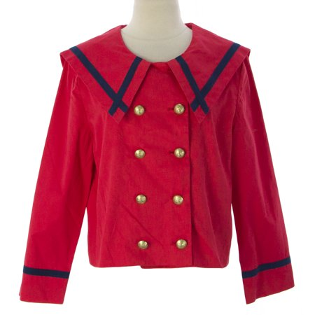PRIORITIES Women's 3/4 Slv Cropped Sailor Jacket Red W/Blue Trim
