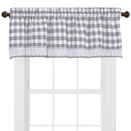 Red Gingham Check (Buffalo Check Gingham Kitchen Curtain Valance - 14