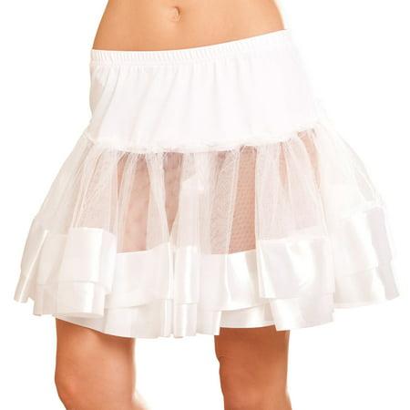Elegant Moments EM-9677 Satin trim Petticoat O/S / White