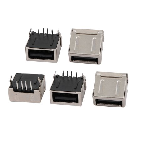 5PCS 4 Terminal Straight Soldering USB Type A Full-Cover Female Jack Connector - image 1 of 1