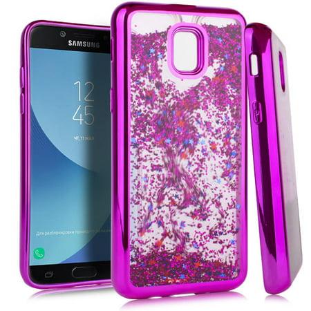 1115a632da2e MUNDAZE Samsung Galaxy J3 2018/J3 Star/Amp Prime 3 Case Motion Glitter  Chrome Hot Pink