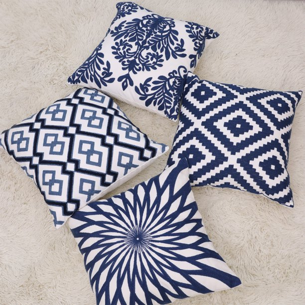 Kwanshop Morocco Throw Pillow Covers 18x18 Inch Bohemian Woven Pillow Cases Accent Pillows For Bed Modern Tribal Textured Decorative Square Pillows Cover Only Walmart Com Walmart Com