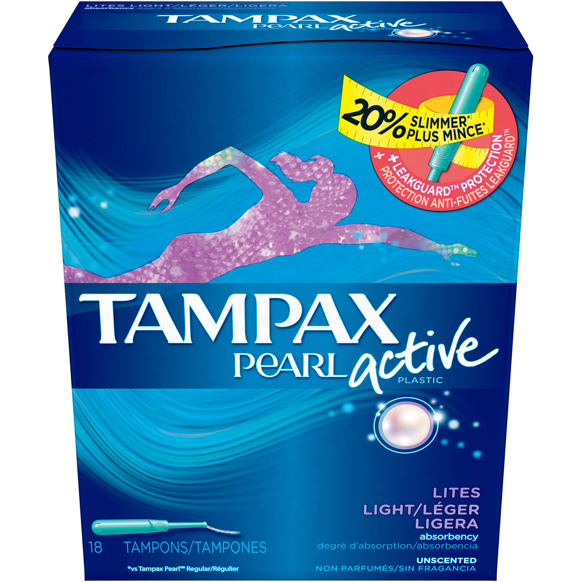 Tampax Pearl Active Unscented Light Absorbency Plastic Tampons, 18 count