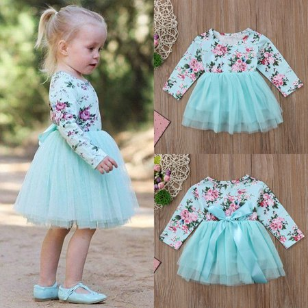 Toddler Baby Girl Long Sleeve Floral Tulle Party Pageant Formal Dress Clothes(0-18M)