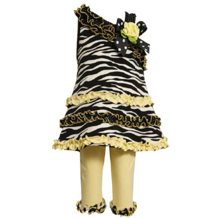 Bonnie Jean - Yellow Zebra One Shoulder Capri Set 12 months](Zebra Outfit)