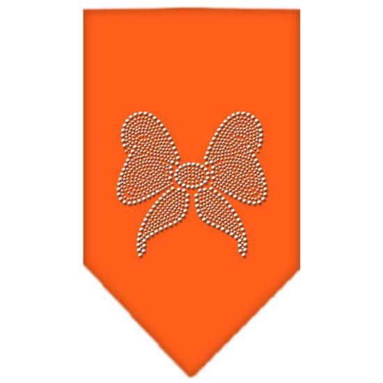 Bow Rhinestone Bandana Orange Large