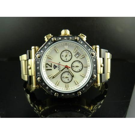 Mens 2 Tone White MOP Dial Diamond Watch W#147-89-13 0.24 Ct