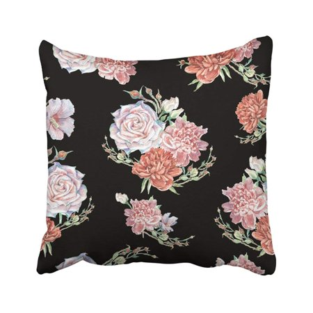ARTJIA Colorful Flower Bright With Cream Roses And Pink And Red Peonies On Black Green Abstract Pillowcase Throw Pillow Cover 18x18 inches ()